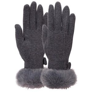 Accessories - Warm winter touch screen fur bow gloves gray